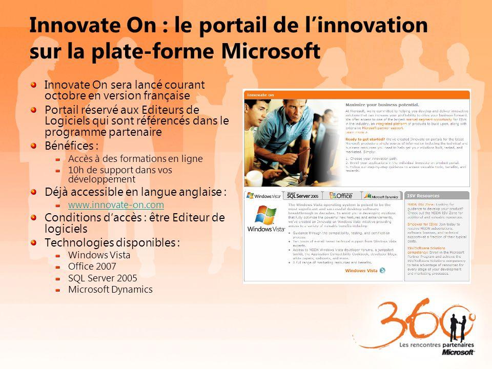 Innovate On : le portail de linnovation sur la plate-forme Microsoft Innovate On sera lancé courant octobre en version française Portail réservé aux E