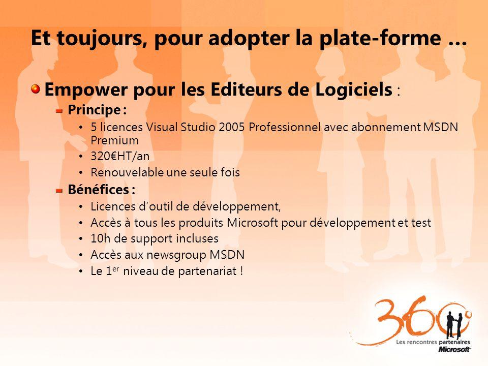 Et toujours, pour adopter la plate-forme … Empower pour les Editeurs de Logiciels : Principe : 5 licences Visual Studio 2005 Professionnel avec abonne