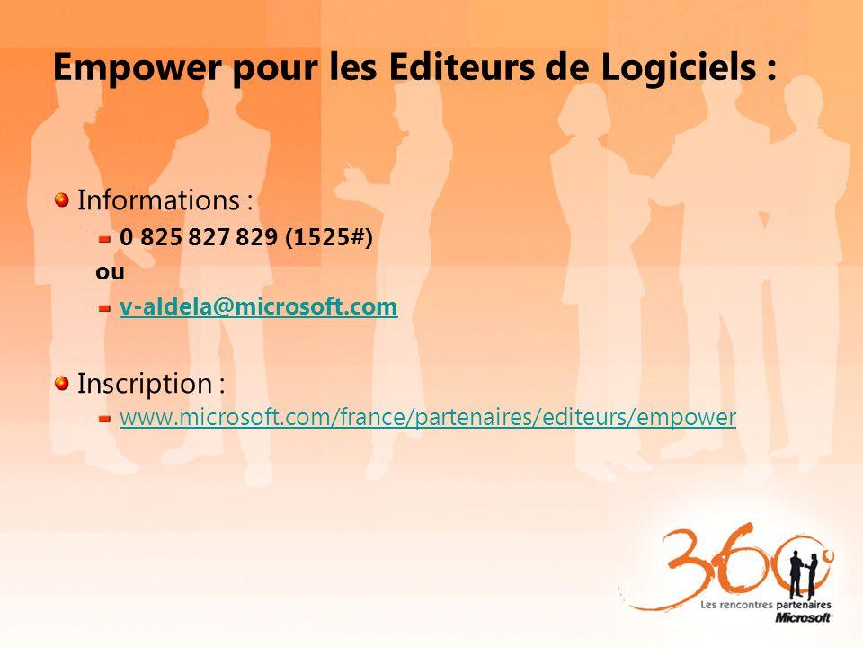 Empower pour les Editeurs de Logiciels : Informations : 0 825 827 829 (1525#) ou v-aldela@microsoft.com Inscription : www.microsoft.com/france/partena