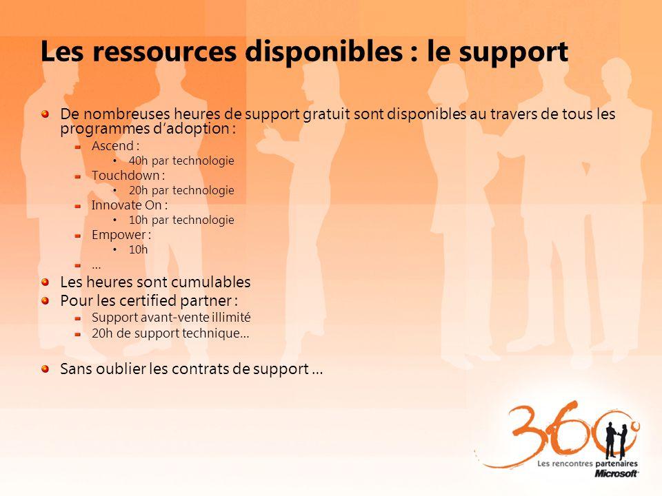 Les ressources disponibles : le support De nombreuses heures de support gratuit sont disponibles au travers de tous les programmes dadoption : Ascend