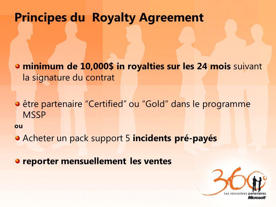 Principes du Royalty Agreement minimum de 10,000$ in royalties sur les 24 mois suivant la signature du contrat être partenaire Certified ou Gold dans
