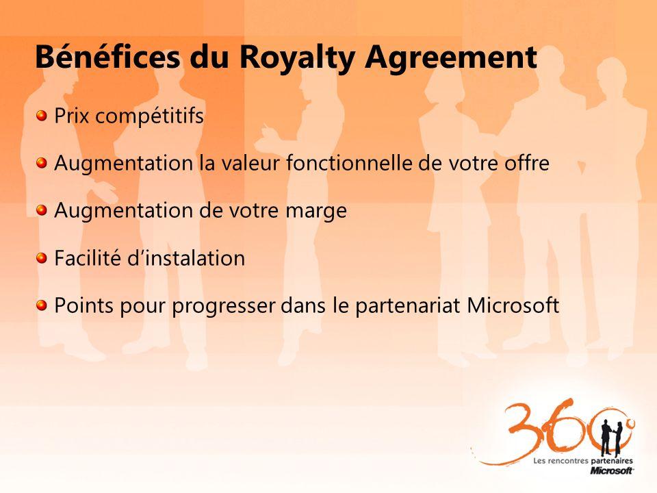Bénéfices du Royalty Agreement Prix compétitifs Augmentation la valeur fonctionnelle de votre offre Augmentation de votre marge Facilité dinstalation