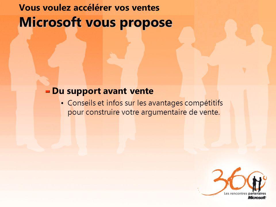 Microsoft vous propose Vous voulez accélérer vos ventes Microsoft vous propose Du support avant vente Conseils et infos sur les avantages compétitifs
