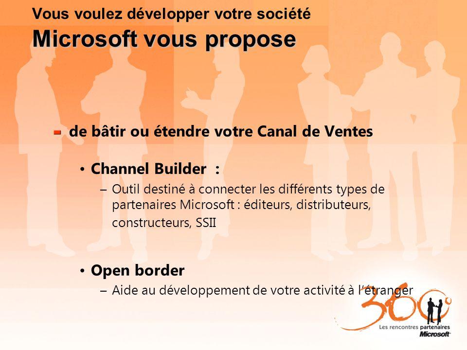 Microsoft vous propose Vous voulez développer votre société Microsoft vous propose de bâtir ou étendre votre Canal de Ventes Channel Builder : –Outil