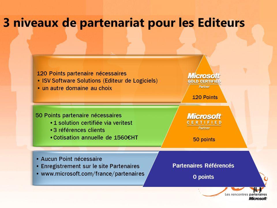 50 Points partenaire nécessaires 1 solution certifiée via veritest 3 références clients Cotisation annuelle de 1560HT 120 Points partenaire nécessaire