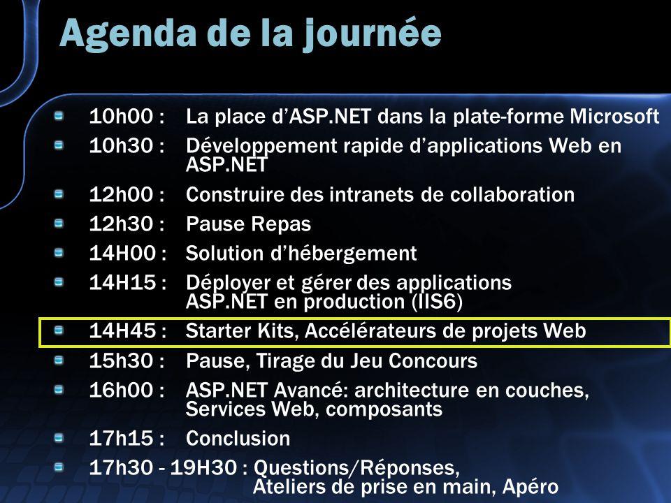 Agenda de la journée 10h00 : La place dASP.NET dans la plate-forme Microsoft 10h30 : Développement rapide dapplications Web en ASP.NET 12h00 : Construire des intranets de collaboration 12h30 : Pause Repas 14H00 :Solution dhébergement 14H15 : Déployer et gérer des applications ASP.NET en production (IIS6) 14H45 : Starter Kits, Accélérateurs de projets Web 15h30 : Pause, Tirage du Jeu Concours 16h00 : ASP.NET Avancé: architecture en couches, Services Web, composants 17h15 : Conclusion 17h30 - 19H30 : Questions/Réponses, Ateliers de prise en main, Apéro