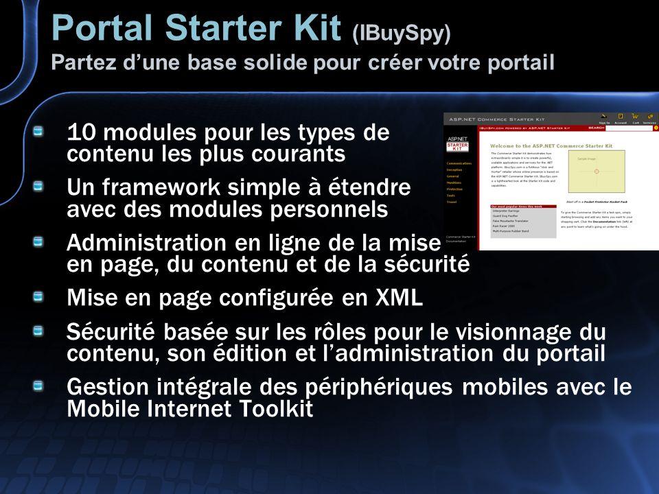 Portal Starter Kit (IBuySpy) Partez dune base solide pour créer votre portail 10 modules pour les types de contenu les plus courants Un framework simple à étendre avec des modules personnels Administration en ligne de la mise en page, du contenu et de la sécurité Mise en page configurée en XML Sécurité basée sur les rôles pour le visionnage du contenu, son édition et ladministration du portail Gestion intégrale des périphériques mobiles avec le Mobile Internet Toolkit