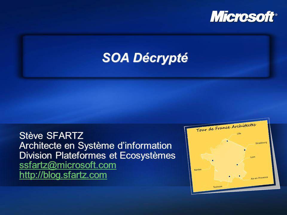 SOA Décrypté Stève SFARTZ Architecte en Système dinformation Division Plateformes et Ecosystèmes ssfartz@microsoft.com http://blog.sfartz.com Stève SF