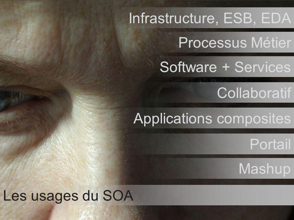 Tour de France Architectes Novembre / Décembre 2006 52 Les usages du SOA Infrastructure, ESB, EDA Processus Métier Software + Services Collaboratif Ap