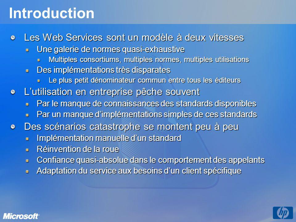 Introduction Les Web Services sont un modèle à deux vitesses Une galerie de normes quasi-exhaustive Multiples consortiums, multiples normes, multiples