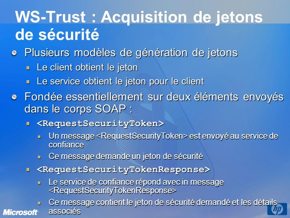 WS-Trust : Acquisition de jetons de sécurité Plusieurs modèles de génération de jetons Le client obtient le jeton Le service obtient le jeton pour le