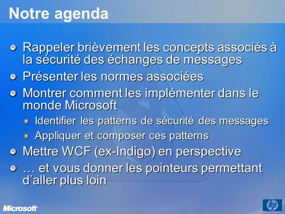 Notre agenda Rappeler brièvement les concepts associés à la sécurité des échanges de messages Présenter les normes associées Montrer comment les implé