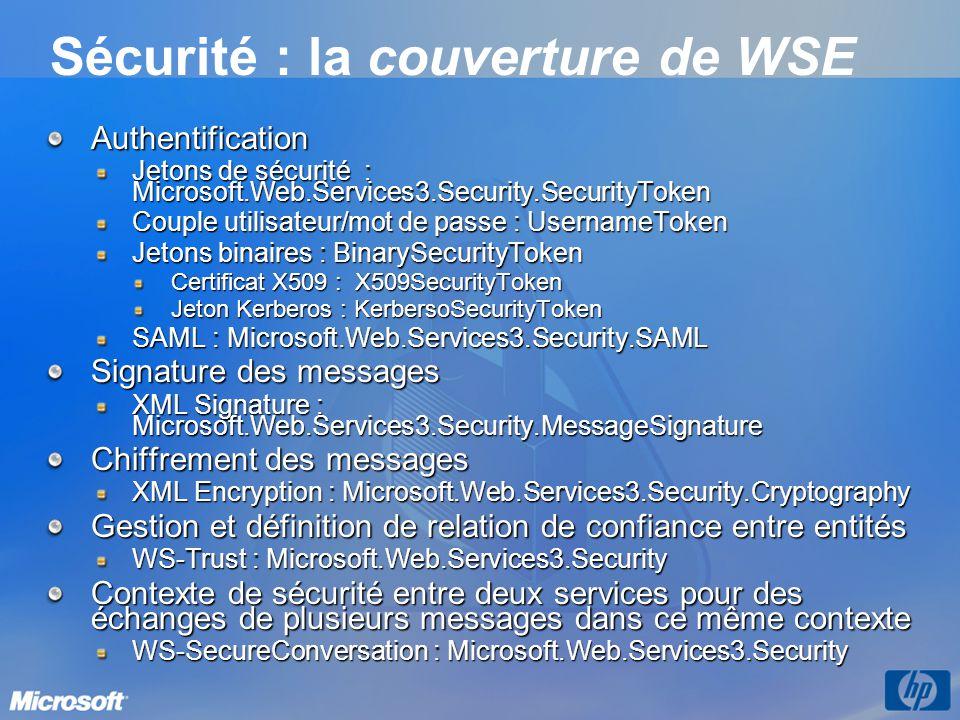 Sécurité : la couverture de WSE Authentification Jetons de sécurité : Microsoft.Web.Services3.Security.SecurityToken Couple utilisateur/mot de passe :