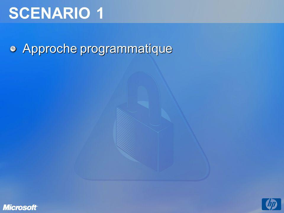 SCENARIO 1 Approche programmatique