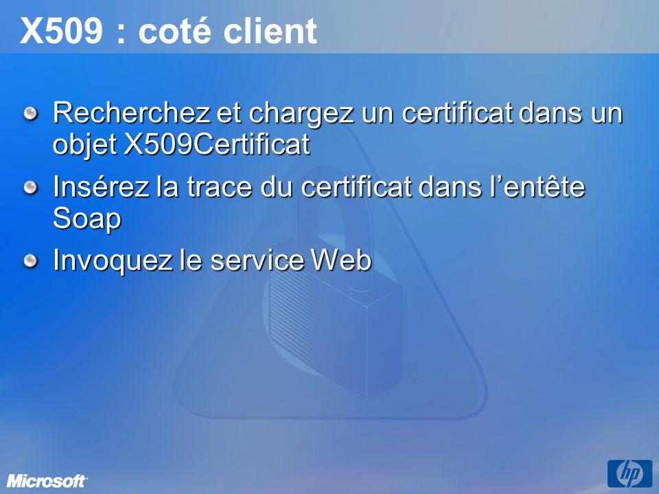 X509 : coté client Recherchez et chargez un certificat dans un objet X509Certificat Insérez la trace du certificat dans lentête Soap Invoquez le servi