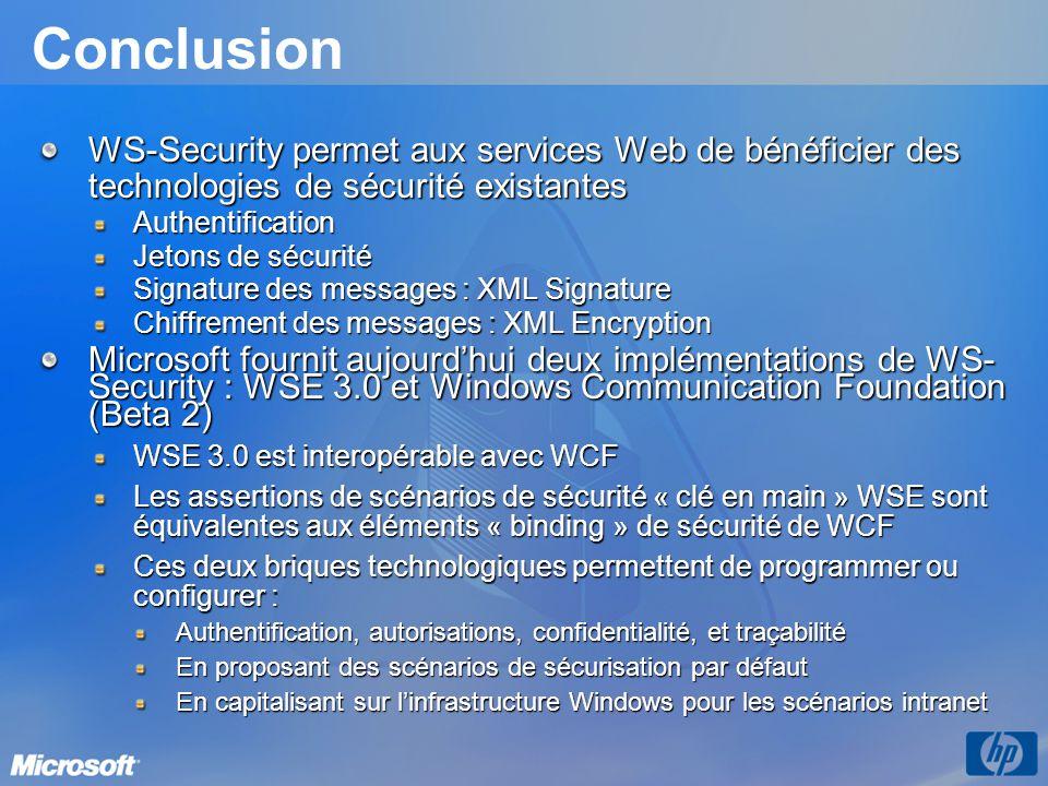 Conclusion WS-Security permet aux services Web de bénéficier des technologies de sécurité existantes Authentification Jetons de sécurité Signature des
