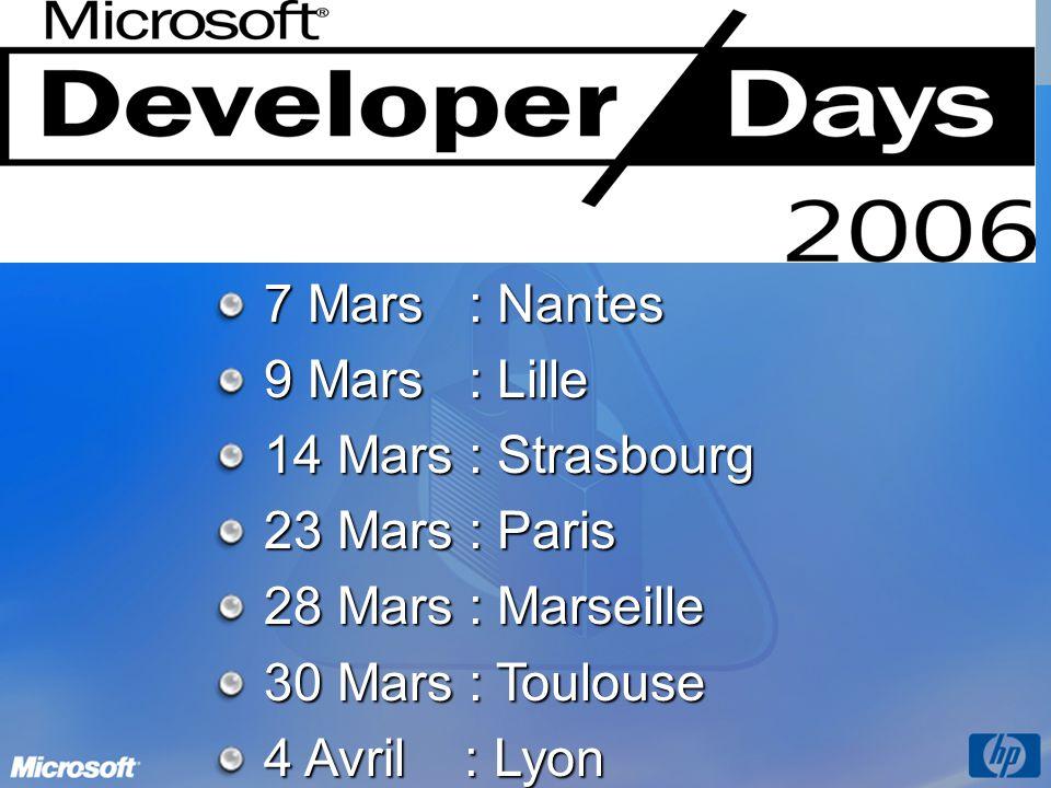 7 Mars : Nantes 9 Mars : Lille 14 Mars : Strasbourg 23 Mars : Paris 28 Mars : Marseille 30 Mars : Toulouse 4 Avril : Lyon