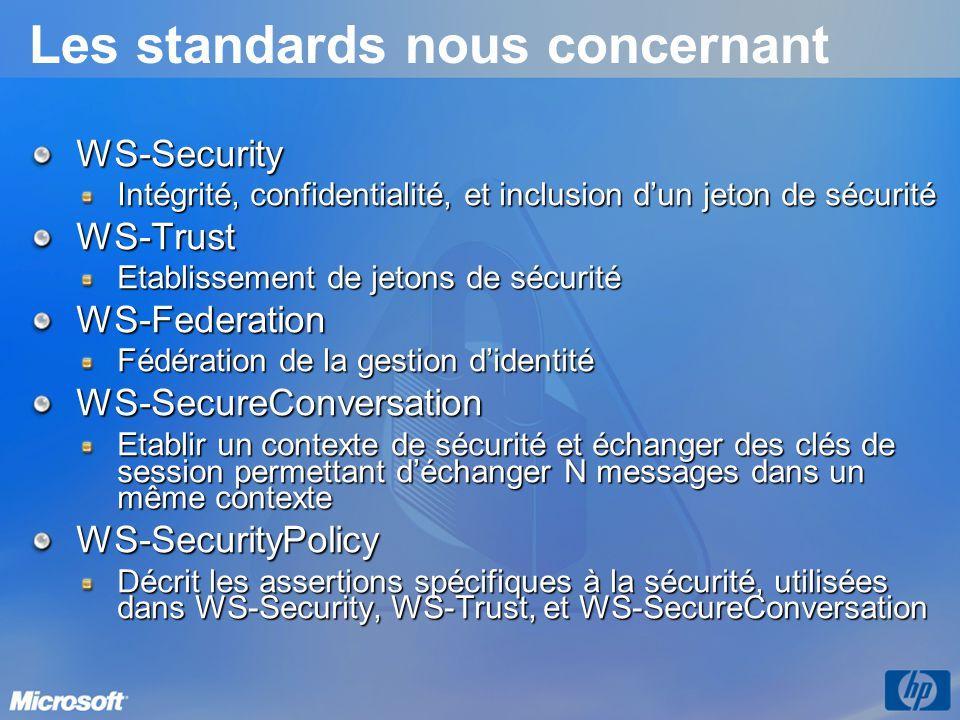 Les standards nous concernant WS-Security Intégrité, confidentialité, et inclusion dun jeton de sécurité WS-Trust Etablissement de jetons de sécurité
