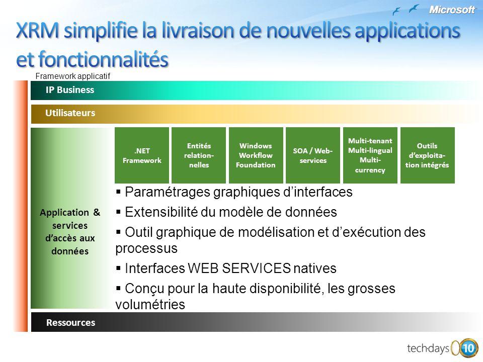 Ressources IP Business Paramétrages graphiques dinterfaces Extensibilité du modèle de données Outil graphique de modélisation et dexécution des proces