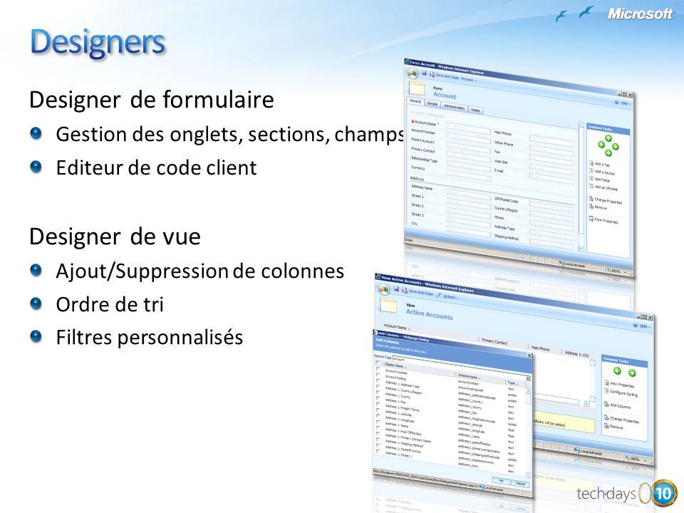 Designer de formulaire Gestion des onglets, sections, champs Editeur de code client Designer de vue Ajout/Suppression de colonnes Ordre de tri Filtres