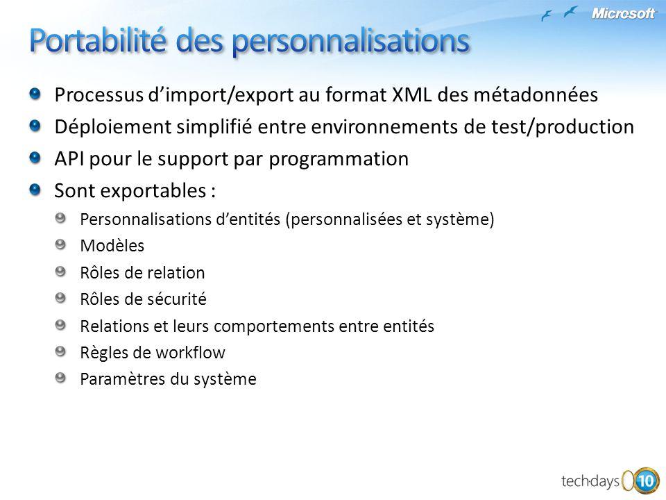 Processus dimport/export au format XML des métadonnées Déploiement simplifié entre environnements de test/production API pour le support par programma
