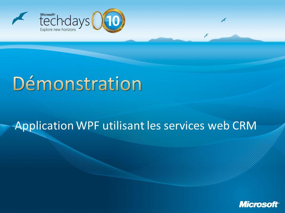 Application WPF utilisant les services web CRM