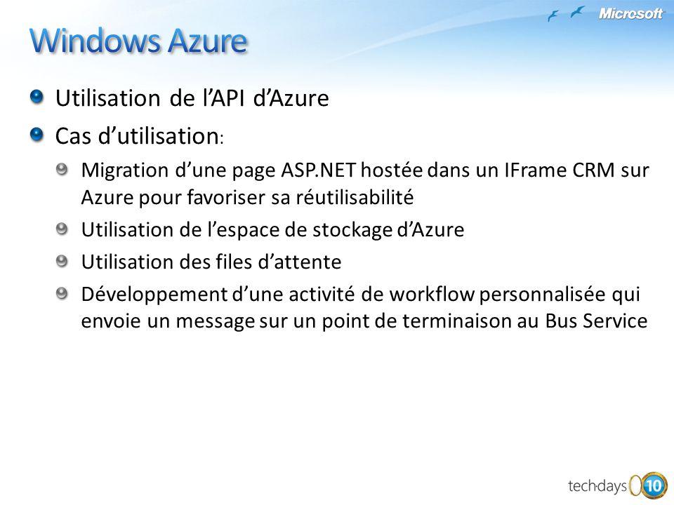 Utilisation de lAPI dAzure Cas dutilisation : Migration dune page ASP.NET hostée dans un IFrame CRM sur Azure pour favoriser sa réutilisabilité Utilis