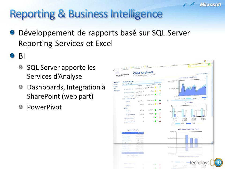 Développement de rapports basé sur SQL Server Reporting Services et Excel BI SQL Server apporte les Services dAnalyse Dashboards, Integration à ShareP
