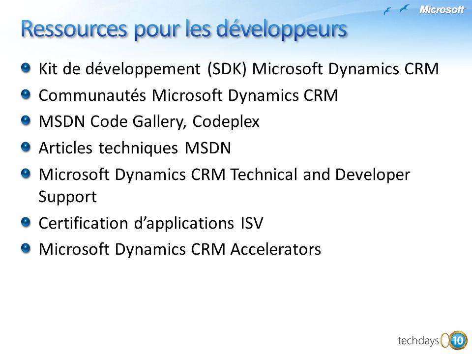 Kit de développement (SDK) Microsoft Dynamics CRM Communautés Microsoft Dynamics CRM MSDN Code Gallery, Codeplex Articles techniques MSDN Microsoft Dy