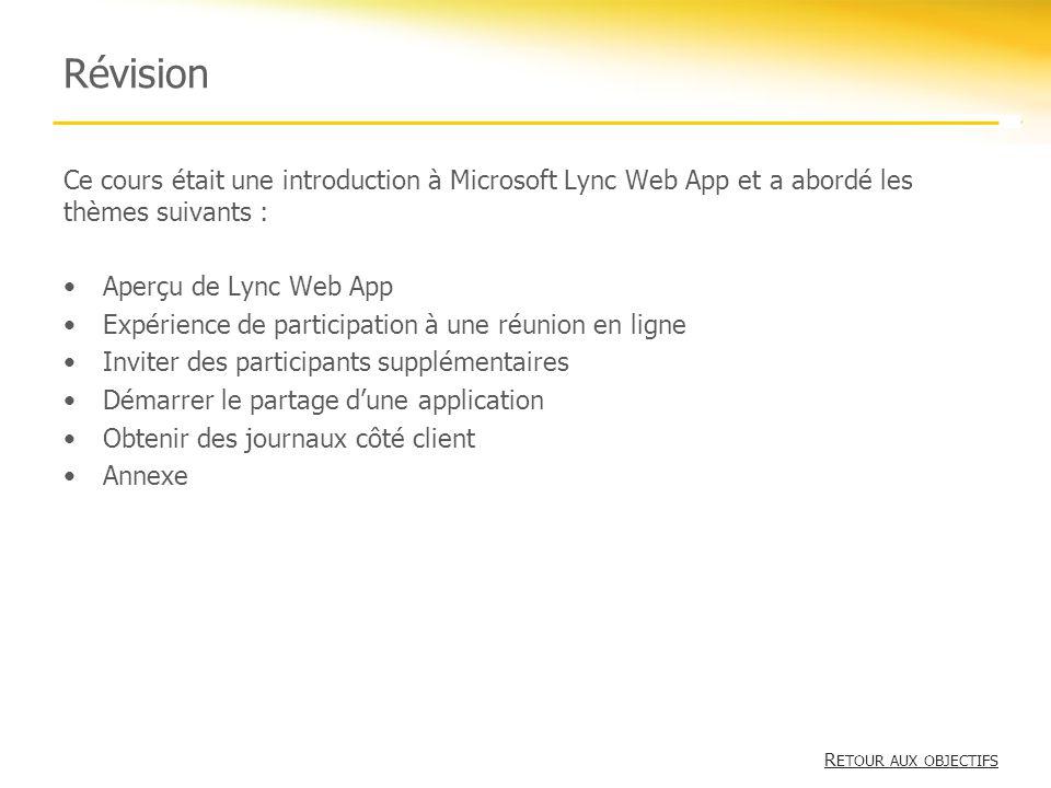 Révision Ce cours était une introduction à Microsoft Lync Web App et a abordé les thèmes suivants : Aperçu de Lync Web App Expérience de participation