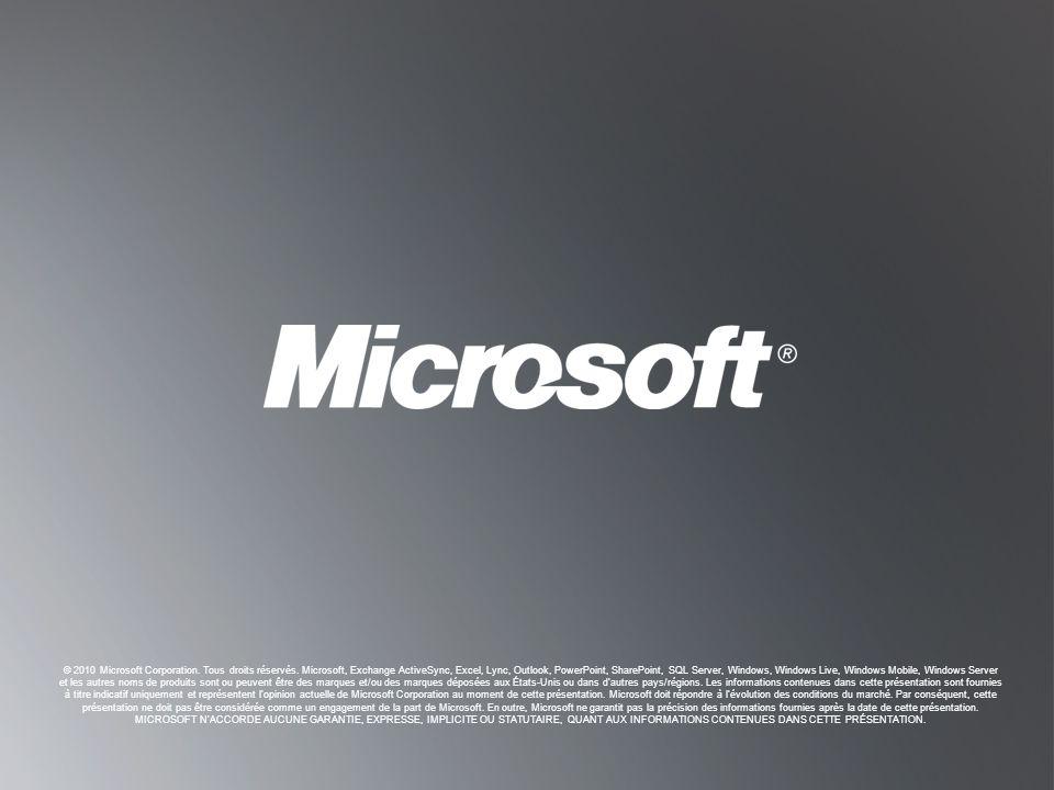 R ETOUR AUX OBJECTIFS R ETOUR AUX OBJECTIFS © 2010 Microsoft Corporation. Tous droits réservés. Microsoft, Exchange ActiveSync, Excel, Lync, Outlook,