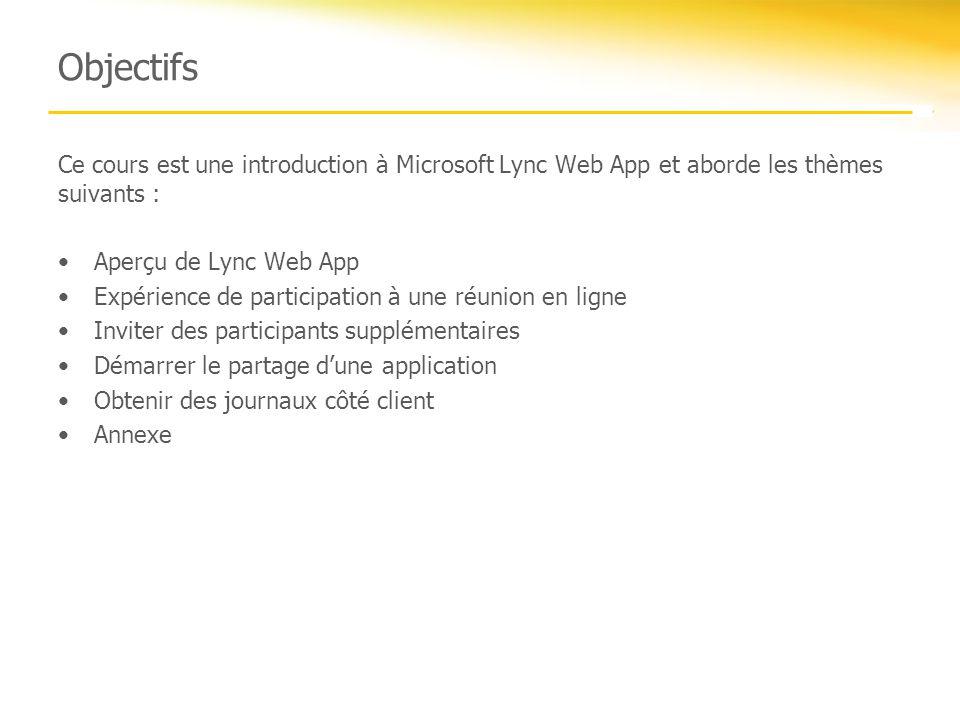 Objectifs Ce cours est une introduction à Microsoft Lync Web App et aborde les thèmes suivants : Aperçu de Lync Web App Expérience de participation à