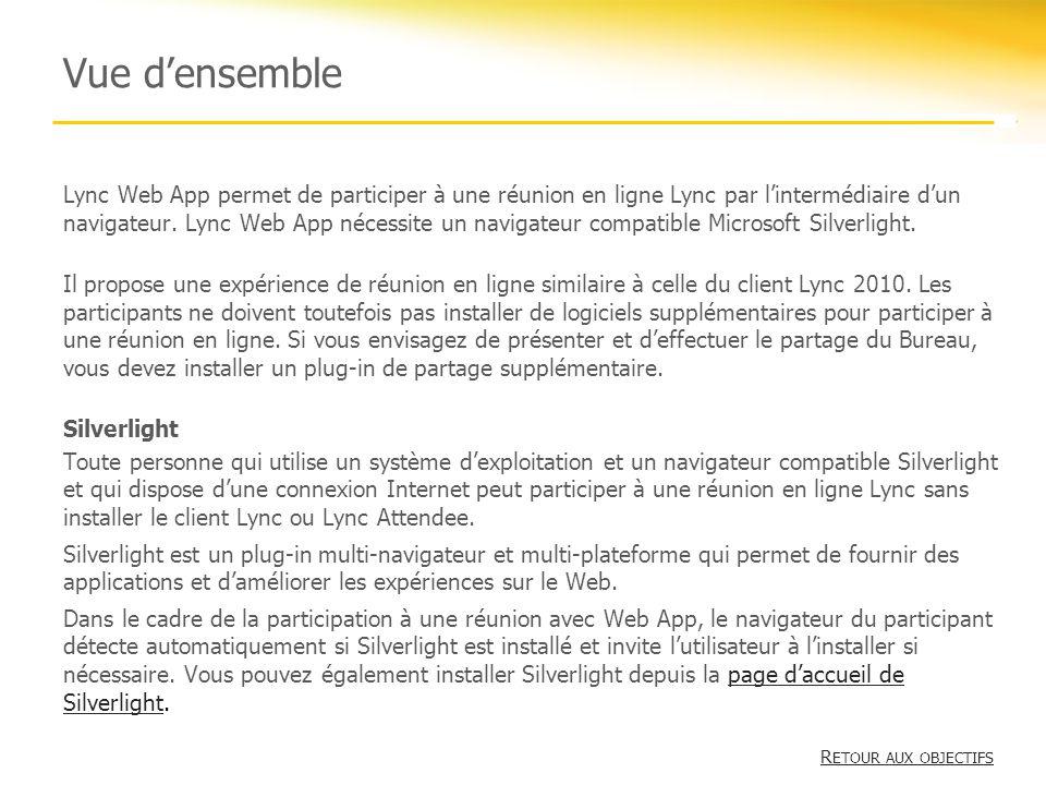 Vue densemble Lync Web App permet de participer à une réunion en ligne Lync par lintermédiaire dun navigateur. Lync Web App nécessite un navigateur co