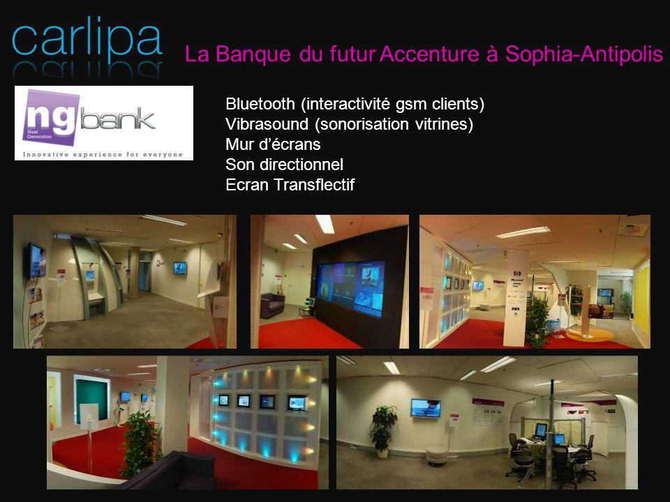 La Banque du futur Accenture à Sophia-Antipolis Bluetooth (interactivité gsm clients) Vibrasound (sonorisation vitrines) Mur décrans Son directionnel Ecran Transflectif