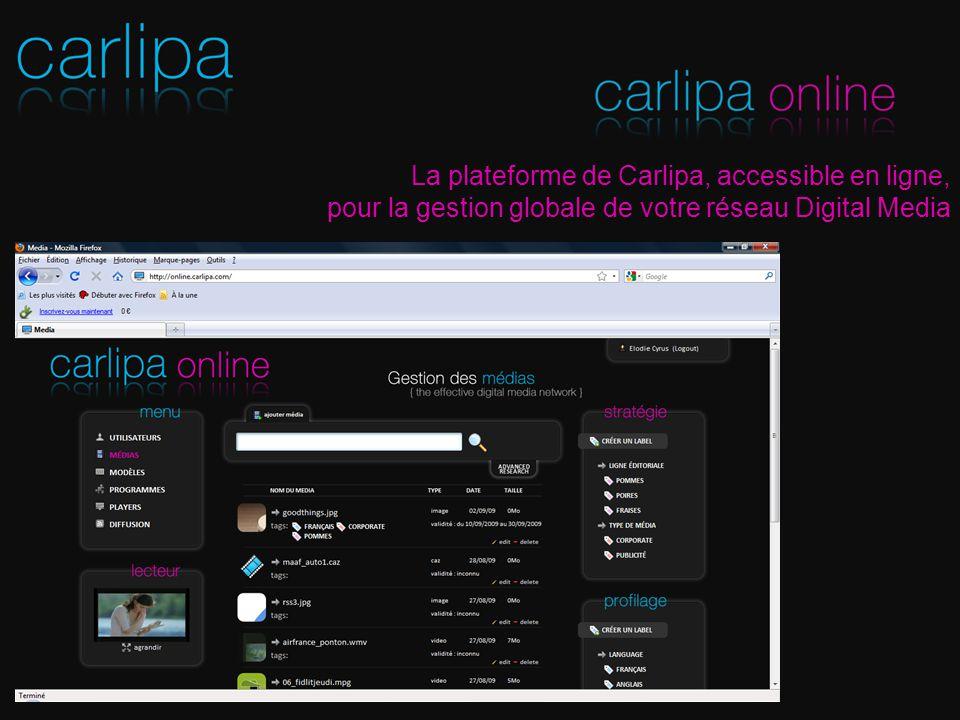 La plateforme de Carlipa, accessible en ligne, pour la gestion globale de votre réseau Digital Media