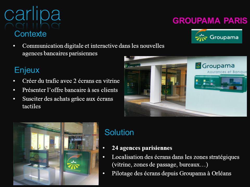 Communication digitale et interactive dans les nouvelles agences bancaires parisiennes 24 agences parisiennes Localisation des écrans dans les zones s