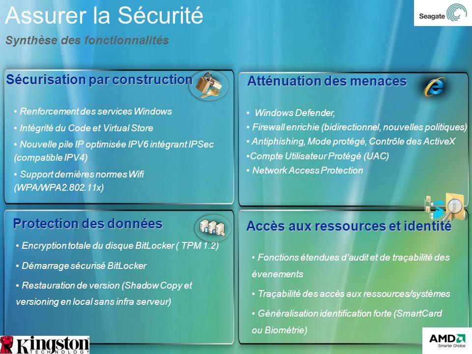 Windows Defender, Firewall enrichie (bidirectionnel, nouvelles politiques) Antiphishing, Mode protégé, Contrôle des ActiveX Compte Utilisateur Protégé