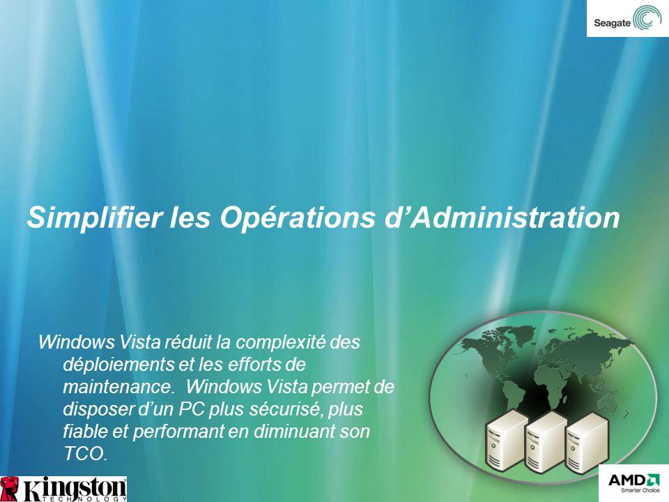 Simplifier les Opérations dAdministration Windows Vista réduit la complexité des déploiements et les efforts de maintenance. Windows Vista permet de d