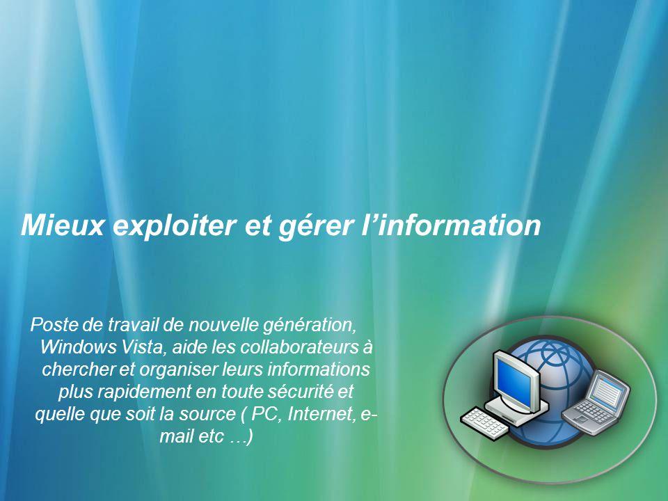 Mieux exploiter et gérer linformation Poste de travail de nouvelle génération, Windows Vista, aide les collaborateurs à chercher et organiser leurs in