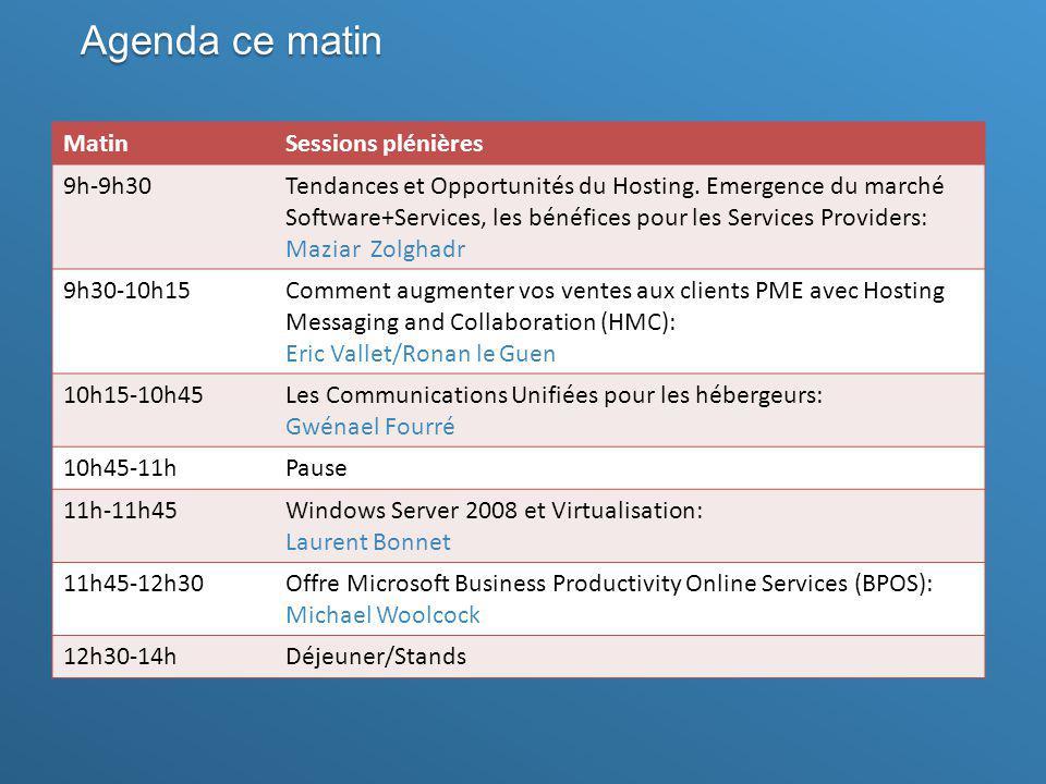 Agenda ce matin MatinSessions plénières 9h-9h30Tendances et Opportunités du Hosting. Emergence du marché Software+Services, les bénéfices pour les Ser