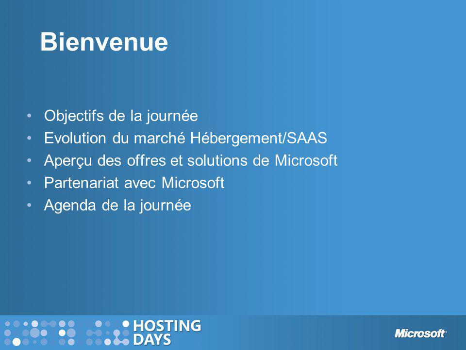 Bienvenue Objectifs de la journée Evolution du marché Hébergement/SAAS Aperçu des offres et solutions de Microsoft Partenariat avec Microsoft Agenda d