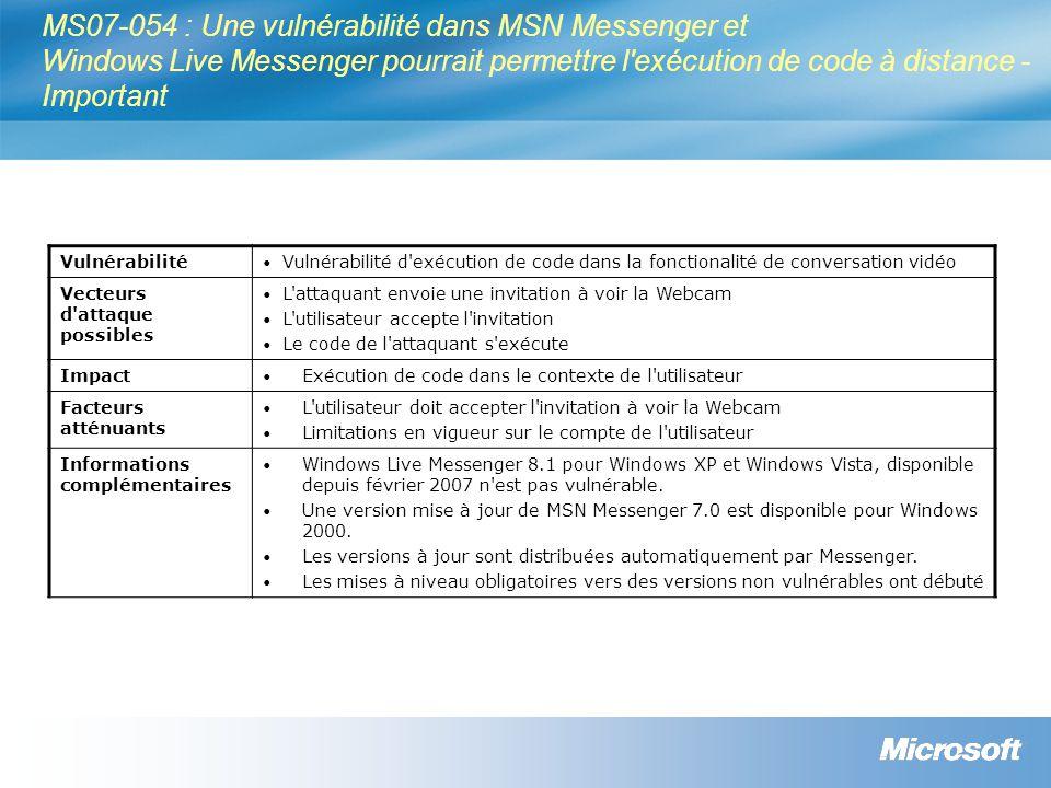 MS07-054 : Une vulnérabilité dans MSN Messenger et Windows Live Messenger pourrait permettre l'exécution de code à distance - Important Vulnérabilité
