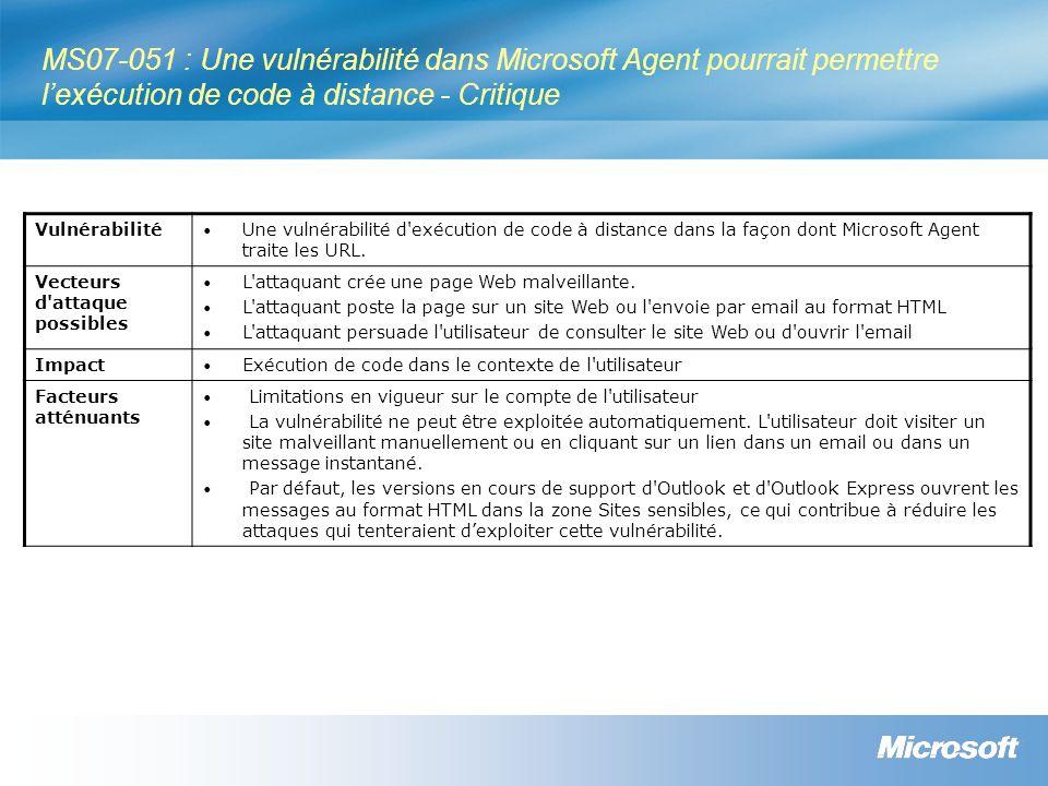 MS07-051 : Une vulnérabilité dans Microsoft Agent pourrait permettre lexécution de code à distance - Critique Vulnérabilité Une vulnérabilité d'exécut