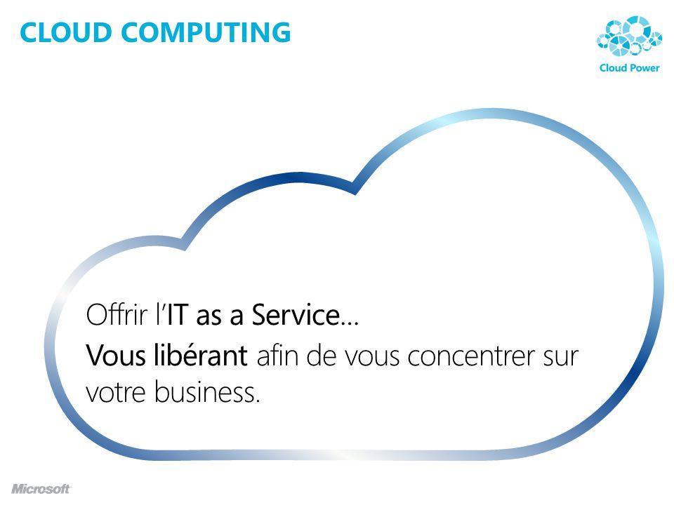 CLOUD COMPUTING Offrir lIT as a Service… Vous libérant afin de vous concentrer sur votre business.