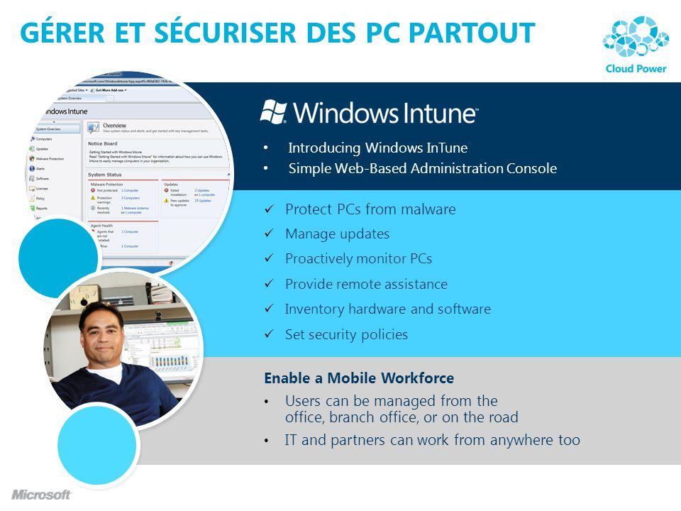 GÉRER ET SÉCURISER DES PC PARTOUT Introducing Windows InTune Simple Web-Based Administration Console Protect PCs from malware Manage updates Proactive