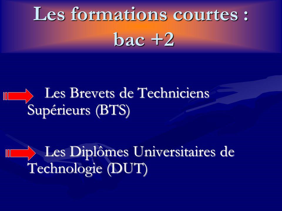 Les formations courtes : bac +2 Les Brevets de Techniciens Supérieurs (BTS) Les Diplômes Universitaires de Technologie (DUT)