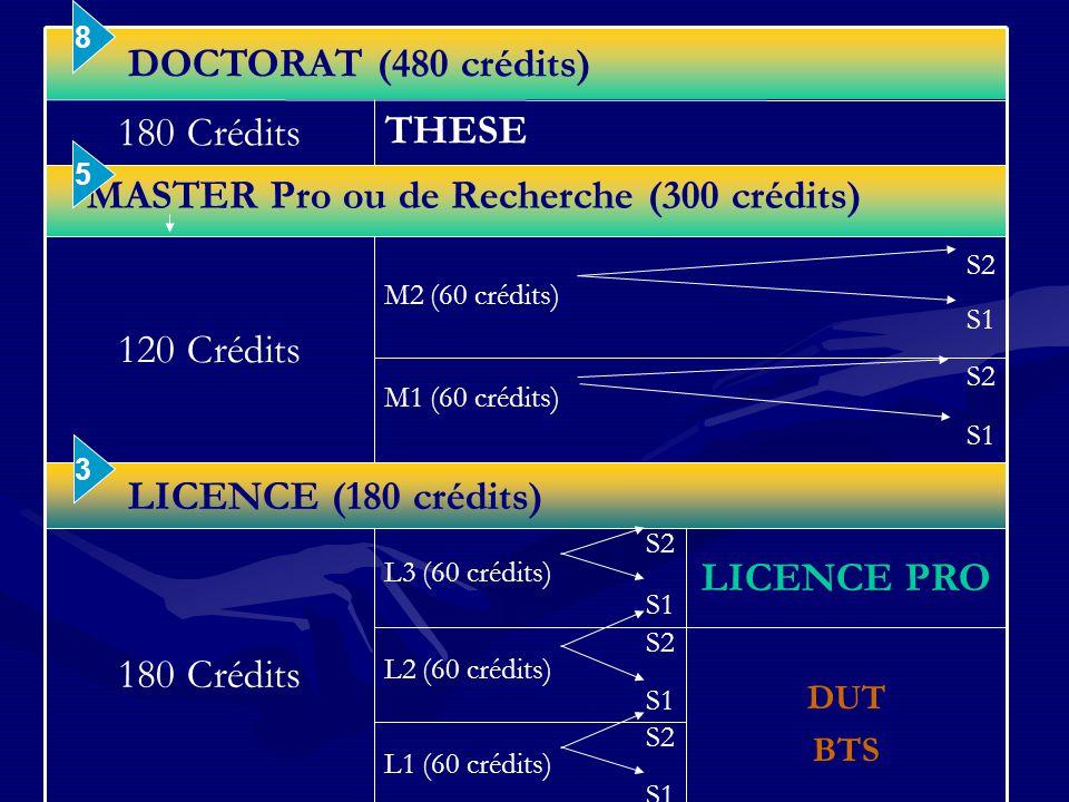 S2 L1 (60 crédits) S1 DUT BTS S2 L2 (60 crédits) S1 LICENCE PRO S2 L3 (60 crédits) S1 180 Crédits LICENCE (180 crédits) S2 M1 (60 crédits) S1 S2 M2 (60 crédits) S1 120 Crédits MASTER Pro ou de Recherche (300 crédits) THESE 180 Crédits DOCTORAT (480 crédits) 3 5 8