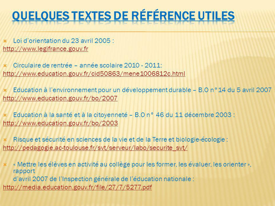 Loi dorientation du 23 avril 2005 : http://www.legifrance.gouv.fr Circulaire de rentrée – année scolaire 2010 - 2011: http://www.education.gouv.fr/cid