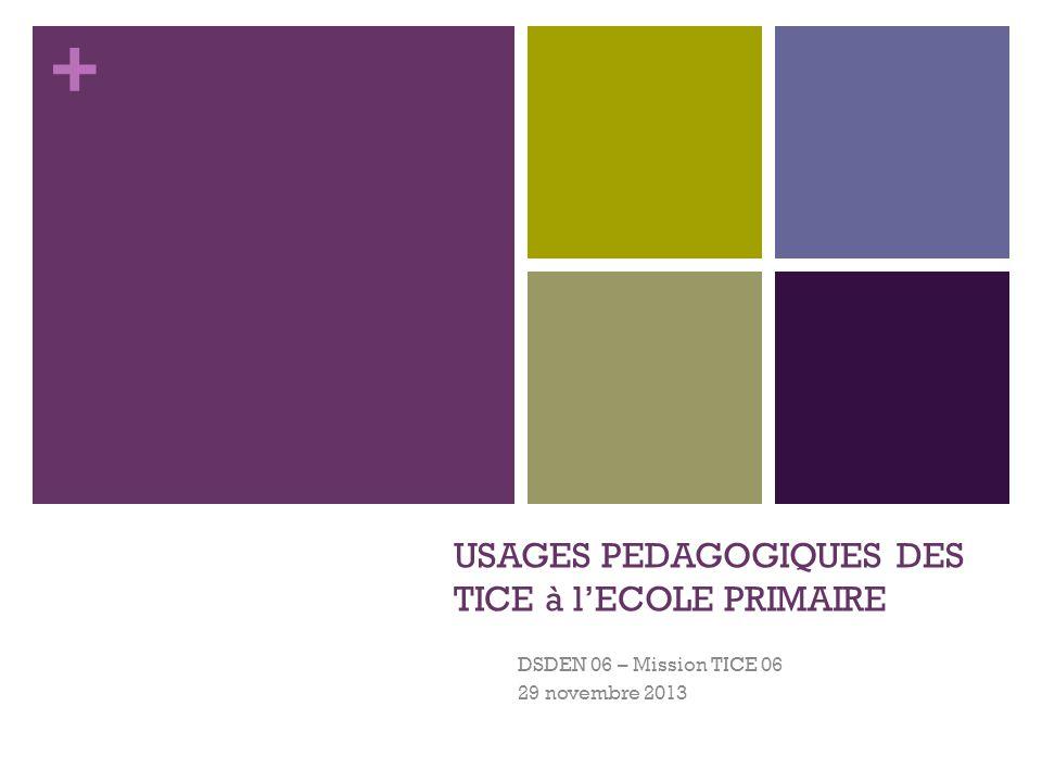+ USAGES PEDAGOGIQUES DES TICE à lECOLE PRIMAIRE DSDEN 06 – Mission TICE 06 29 novembre 2013