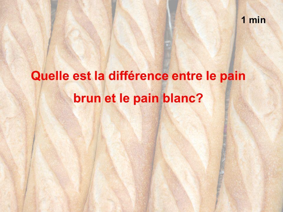1 min Quelle est la différence entre le pain brun et le pain blanc?